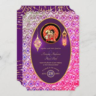 Indian Wedding Couple Engagement Rehearsal Dinner Invitations