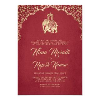 Indian Wedding Invitation, Red, Gold, Ganesha Invitation
