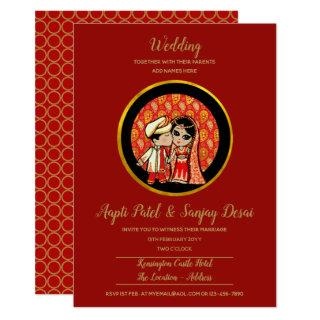 Indian Wedding Invitations Cute Bride Groom Cartoo