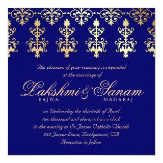 Indian Wedding Invite Damask Gold Autumn Blue