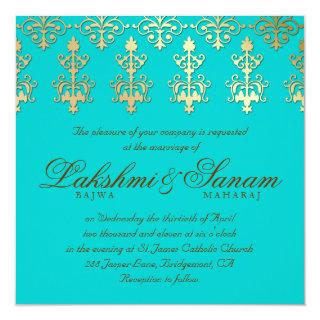 Indian Wedding Invite Damask Gold Autumn Teal