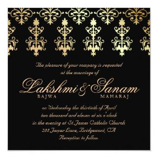 Indian Wedding Invite Damask Gold Winter Black