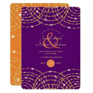 Indian Wedding Purple Coral Gold Lights Invitations
