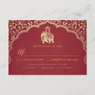 Indian Wedding RSVP Card, White and Gold Invitation