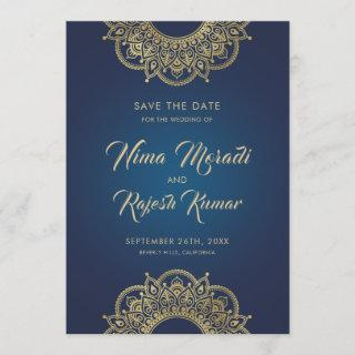 Indian Wedding, Save The Date, Blue and Gold Save The Date