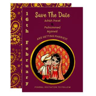 Indian  Wedding Save the Date Cute Bride Groom Invitations