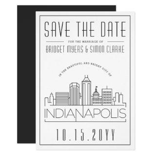 Indianapolis Wedding Skyline Save the Date Invitations