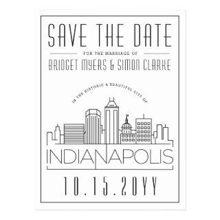 Indianapolis Wedding Skyline Save the Date Postcard