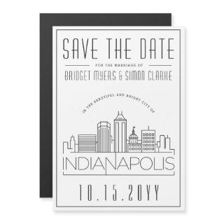 Indianapolis Wedding Stylized Save the Date Magnetic Invitation
