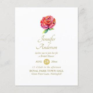 Indulgent Red Rose Watercolor Gold Bridal Shower