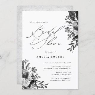 Industrial Chic Floral Calligraphy Bridal Shower Invitations