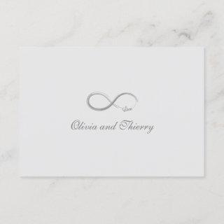 Infinity sign pure white gold gray wedding RSVP Invitations