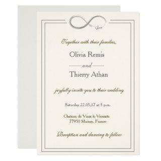 Infinity sign unique ivory white gold gray wedding Invitations