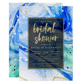 Inky Splash Blue Marble with Gold Bridal Shower Invitations