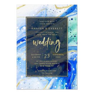 Inky Splash Blue Marble with Gold foil Wedding Invitations