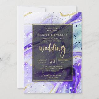 Inky Splash Purple Marble with Gold foil Wedding Invitations