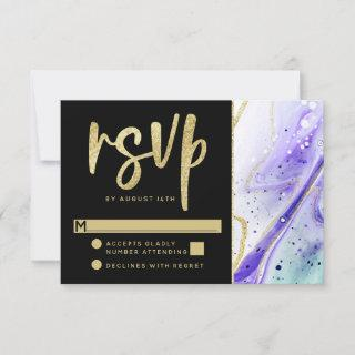 Inky Splash Purple Marble with Gold foil Wedding RSVP Card