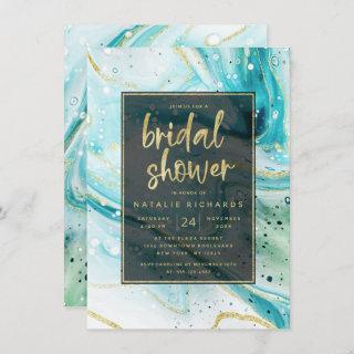 Inky Splash Teal Marble with Gold Bridal Shower