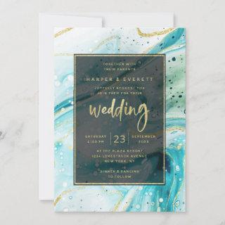 Inky Splash Teal Marble with Gold foil Wedding