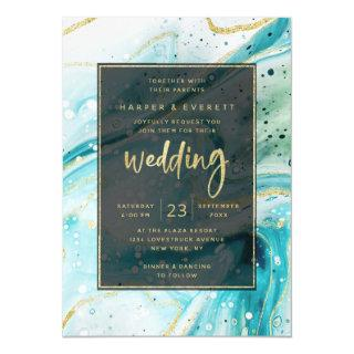 Inky Splash Teal Marble with Gold foil Wedding Invitation