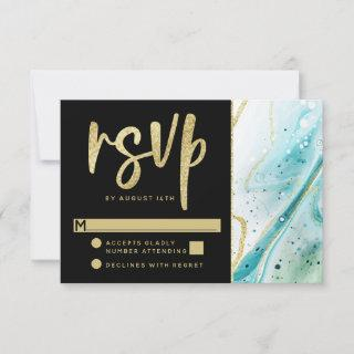 Inky Splash Teal Marble with Gold foil Wedding RSVP Card