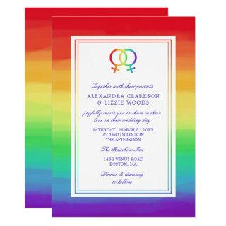 Interlocked Venus Symbols | Lesbian Wedding Invitations