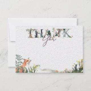 Into the wild Thank you note card with fox