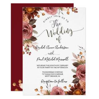 Intricate Burgundy and Blush Floral Wedding Invitation