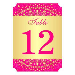 Intricate Pink Gold Scrolls Stars Table Numbers