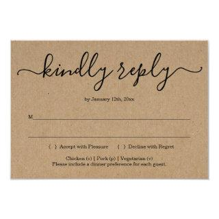 Invitations Reply Card Insert - Rustic Kraft
