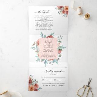 Invitation with RSVP Ethereal Blush Peach Wedding