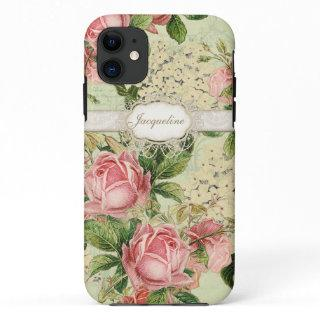 IPhone 5 - Vintage English Rose Lace n Hydrangea iPhone 11 Case