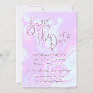 Iridescent unicorn skin faux holographic texture save the date