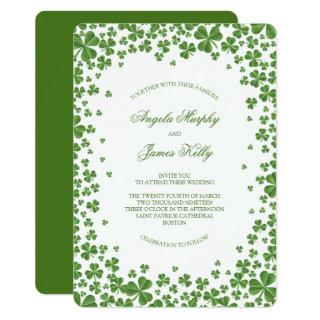 Irish Green Shamrock Wedding Invitations