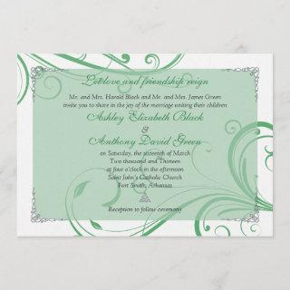 Irish Green White Celtic Wedding Invitations