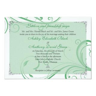 Irish Green White Celtic Wedding Invitation