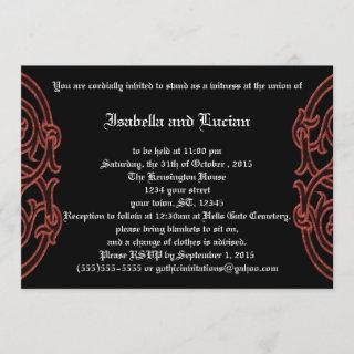 Irish Knots with Poetry Goth Wedding Invitations