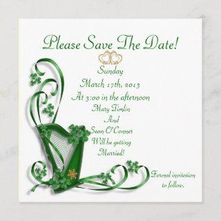 Irish Save the date for Wedding, Harp