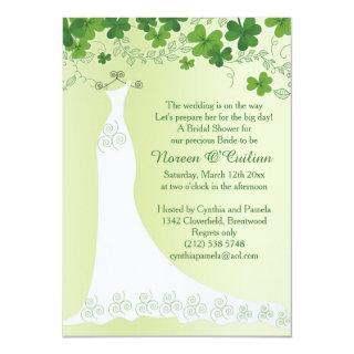 Irish shamrock, wedding gown Bridal Shower Invitation