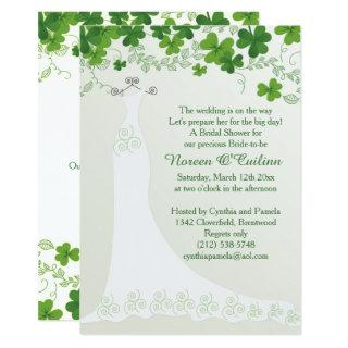 Irish shamrock, wedding gown Bridal Shower Invitations