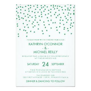 Irish Theme Wedding Shamrock Confetti on White Invitations