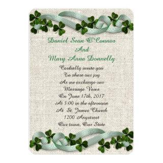 Irish wedding Invitations linen elegant