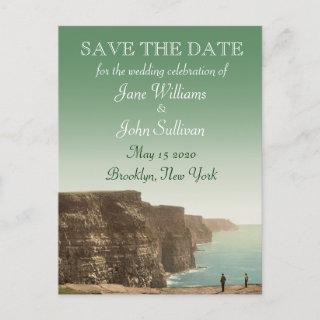 Irish Wedding Theme Cliffs of Moher Save the Date Announcement Postcard