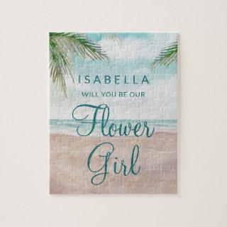 Island Breeze Beach Be Our Flower Girl Proposal Jigsaw Puzzle