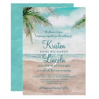Island Breeze Painted Beach Scene Tropical Wedding Invitations
