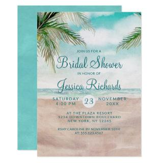 Island Breeze Tropical Beach Wedding Bridal Shower Invitations