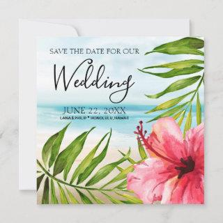 Island Paradise   Palms and Hibiscus Beach Wedding Save The Date