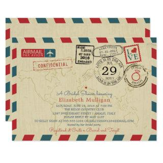 Italy World Traveler Airmail |  Bridal Shower Invitations