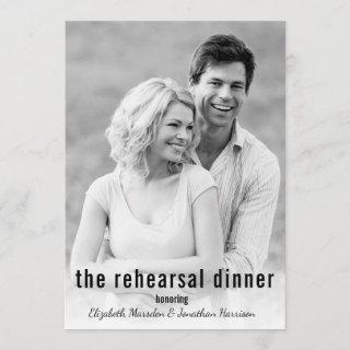 It's Happening Minimalist Photo Rehearsal Dinner Invitation