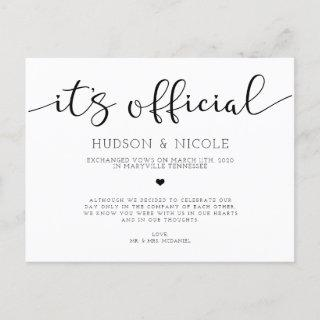It's Official Elopement Wedding Announcement Postcard